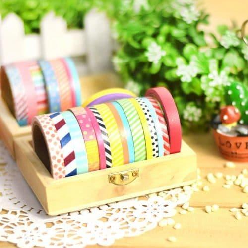 Маленький декоративный бумажный скотч цветной в наборе