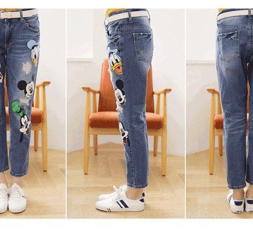 Женские джинсы с Микки Маусом