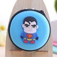 Жесткий чехол-сумка для хранения маленьких наушников с изображением супергероев
