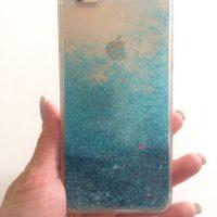 Прозрачный пластиковый чехол-бампер задняя крышка для айфон (iPhone) 4, 5, 6, 7 с блёстками и жидкостью