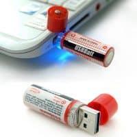 Аккумуляторные батарейки AA, заряжающиеся через USB, 2 шт.