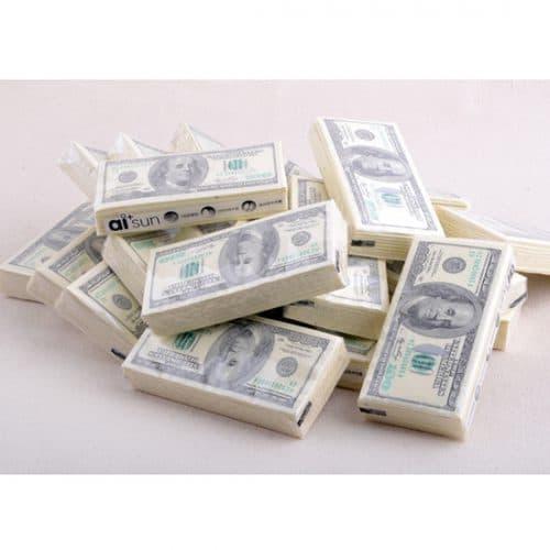Бумажные салфетки в виде денег