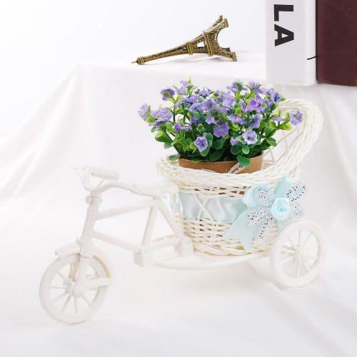 Декоративная пластиковая ваза-горшок-кашпо в виде велосипеда для цветов