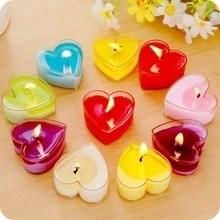Декоративные свечи в виде сердца в наборе