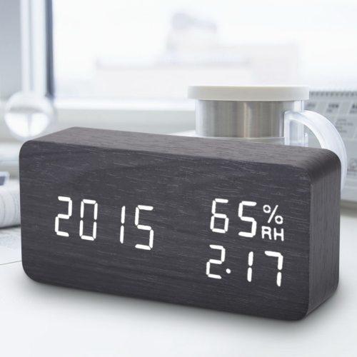 Деревянные светодиодные LED настольные электрические часы с будильником и датчиком влажности