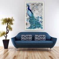 Дешевая работа алмазная вышивка (мозаика) Синий павлин