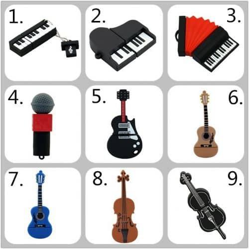 Флешка USB 2.0 в виде музыкальных инструментов гитара, пианино, скрипка, аккордеон, микрофон
