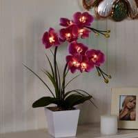 Интерьерный декоративный светодиодный светильник-ночник Орхидея в горшке
