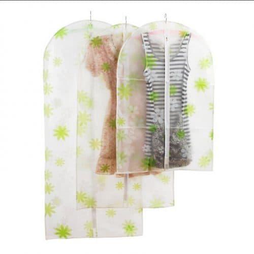 Кофр-чехол для хранения верхней, рабочей одежды на молнии прозрачный из ткани