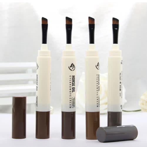 Коричневый, серый водостойкий карандаш-гель для темных бровей с кисточкой