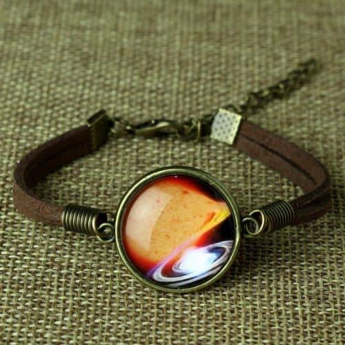 Кожаный космический браслет на руку с космосом, звездами, планетами
