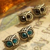 Красивые женские серьги-гвоздики в виде сов