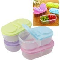 Маленький пластиковый пищевой контейнер с крышкой для хранения продуктов с 2 отделениями