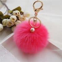 Мягкий пушистый брелок шарик-помпон для сумки, на портфель, на ключи