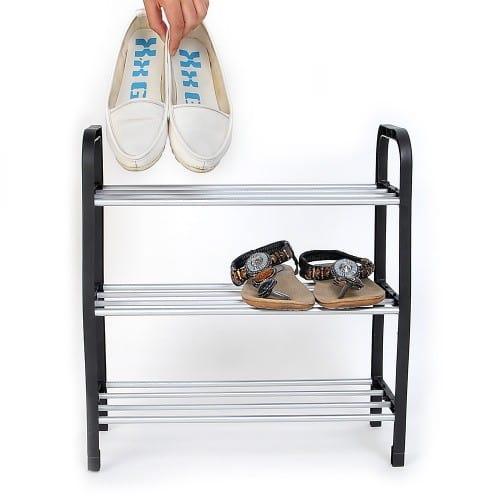 Низкая узкая открытая обувница (стеллаж для обуви) в прихожую пластиковая