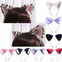 Ободок-обруч для волос с кошачьими меховыми ушками