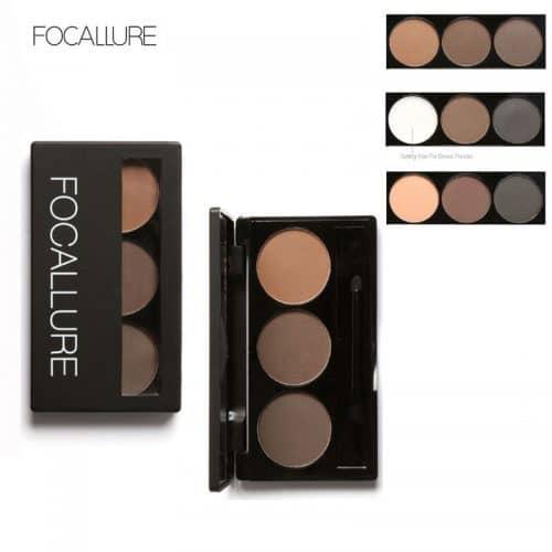 Палетка водостойких теней для коричневых бровей с кисточкой и зеркалом 3 цвета Focallure