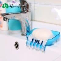 Пластиковая мыльница для ванной комнаты на присосках со сливом воды