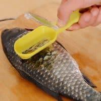 Ручная пластиковая рыбочистка с контейнером для чешуи, скребок для чистки рыбы