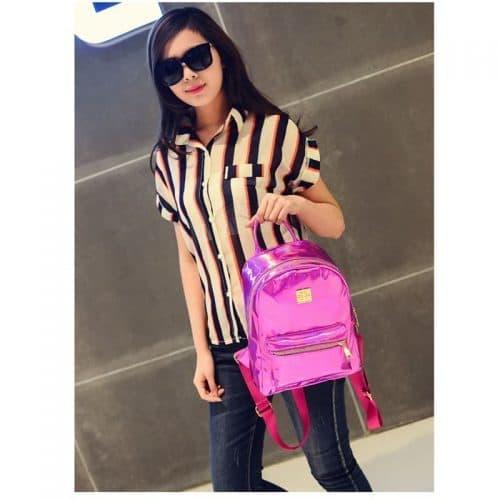 Школьный женский стильный голографический рюкзак цвета серебристый металлик