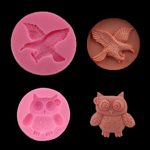 Силиконовые формы (молды) 3d сова, орел для творчества, выпечки, украшений