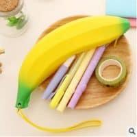 Силиконовый пенал в виде банана для канцелярских принадлежностей