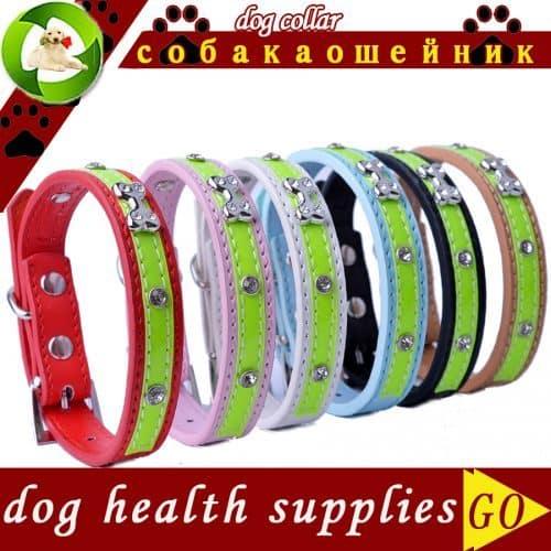 Светоотражающий кожаный ошейник для маленьких собак мелких пород и кошек
