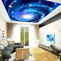 Текстильные 3D (3д) космические фото-обои на потолок