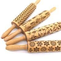 Текстурная деревянная скалка фигурная с узором для теста, пряников, печенья