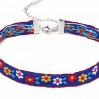 Тканевый чокер-ожерелье с вышивкой (украшение на шею)