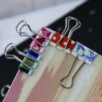 Цветные канцелярские зажимы (биндеры) для бумаги 38 мм в наборе