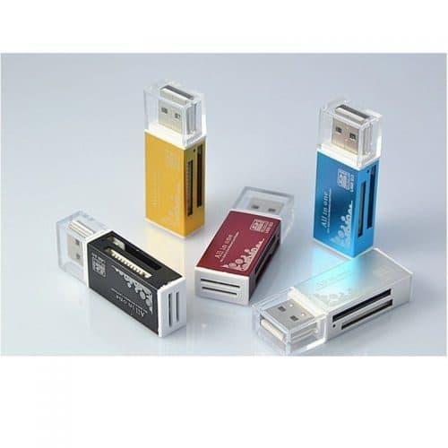 Универсальный внешний картридер для компьютера USB 2.0 SD/SDHC, MMC/RS MMC, TF/MicroSD, MS/MS PRO/MS DUO, M2