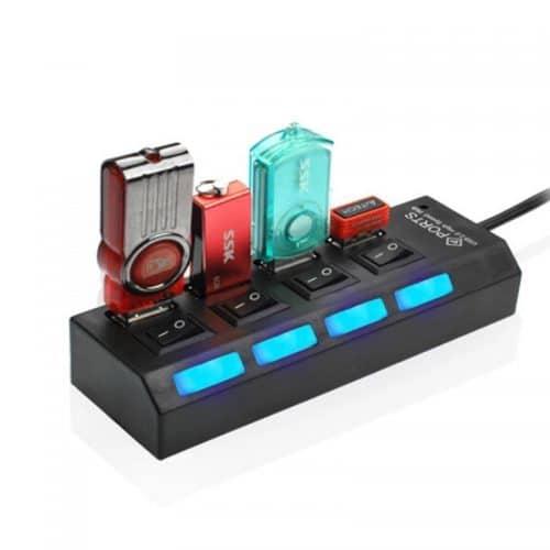 Внешний концентратор мини USB 2.0 HUB на 4 порта разветвитель с выключателями для компьютера, ноутбука