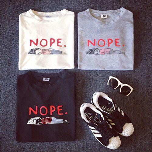 Женская футболка из хлопка с коротким рукавом с надписью NOPE белая, черная, серая