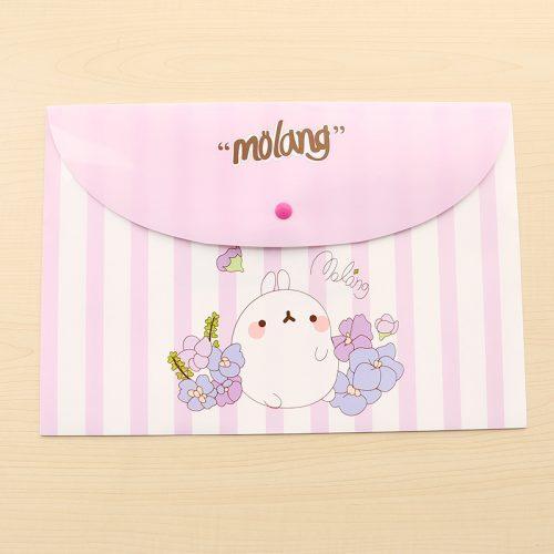Женская пластиковая папка-конверт на кнопке для хранения документов формата А4