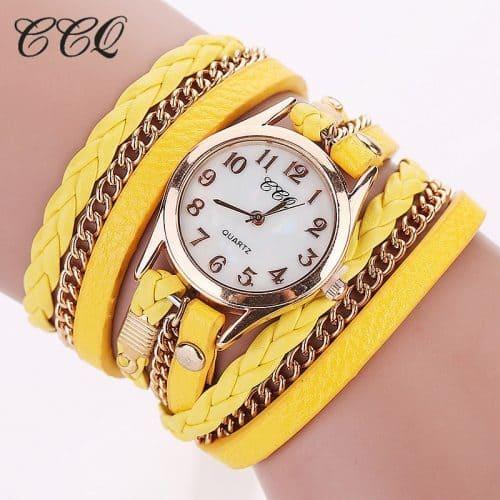 Женские наручные тонкие часы с кожаным браслетом
