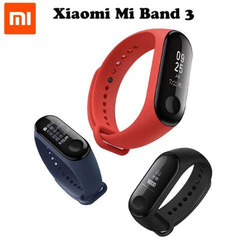 Фитнес браслет Xiaomi Mi Band 2, 3 с пульсометром черный/цветной водонепроницаемый