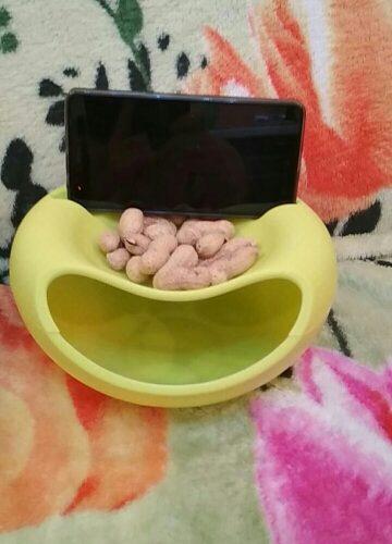 Двойная тарелка-миска для семечек, фисташек, орехов с отсеком для шелухи и косточек и подставкой для телефона