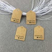 Бирки бумажные Hand Made With Love на одежду, подарки