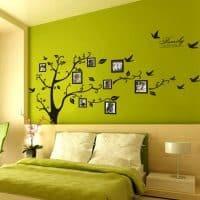 Большая интерьерная наклейка на стену Дерево – коллаж с рамками для фотографий