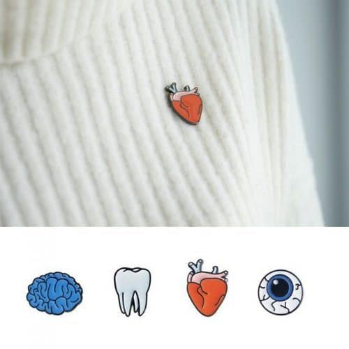 Брошь-значок в виде сердца, глаза, зуба, мозга