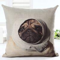 Декоративная наволочка на подушку с изображением собаки мопса 45х45 см