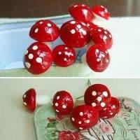 Декоративные пластиковые мини-грибы, грибочки в наборе 50 шт.