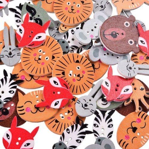 Деревянные пуговицы в виде животных (лиса, слон, кошка, лев и др.) для скрапбукинга