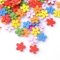 Деревянные цветные пуговицы в форме цветов для скрапбукинга в наборе