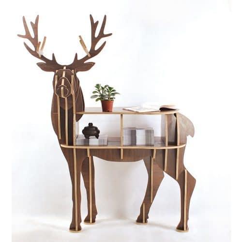 Деревянный сборный высокий стол с полками в виде оленя