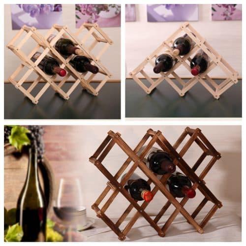 Деревянный стеллаж-подставка шкаф для хранения винных бутылок