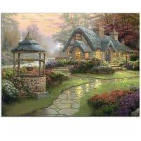 Дешевая алмазная вышивка (мозаика) картина пейзаж Дом мечты цветы в наборе