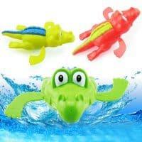 Детская заводная игрушка для купания в ванной и бассейне Плавающий Крокодил