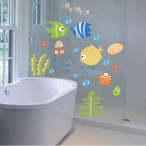 Детские наклейки для ванной комнаты – Рыбки